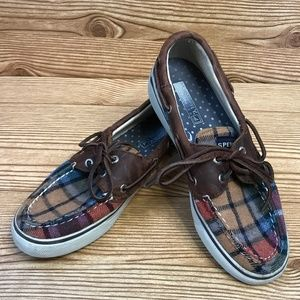 Sperry Topsiders Plaid Boat Shoes 6M